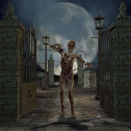 zombie cartoon: Zombie - Halloween Figure