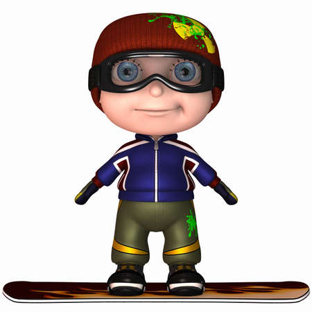Cute Snowboard Kid Imagens