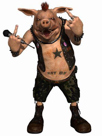 Toon Pig - Punk Stock Photo - 6572039