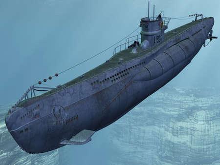 blue vessels: U99-German Submarine from the Worldwar II Stock Photo