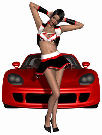 sexy girl posing: Sexy Grid Girl and Hot Car
