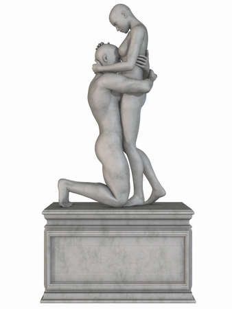 classicism: Female and Male Stone Statue