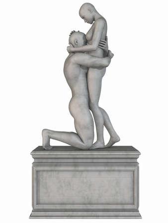 homer: Female and Male Stone Statue