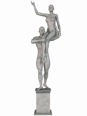 romanesque: Female and Male Stone Statue