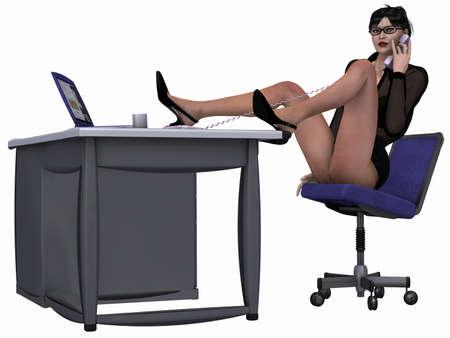 sexy skirt: Sexy Office Girl Stock Photo