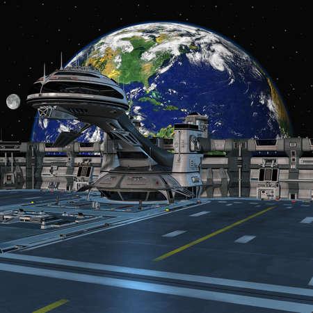 Futuristic space station Stock Photo - 7425695