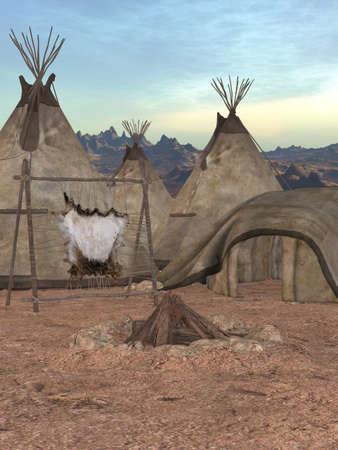 Traditional teepee village photo