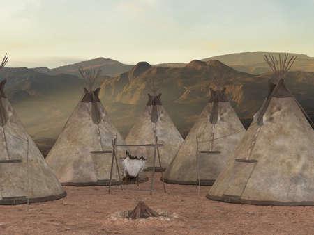 indigenas americanos: Tipi tradicional aldea