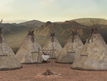 indian village: Traditional teepee village