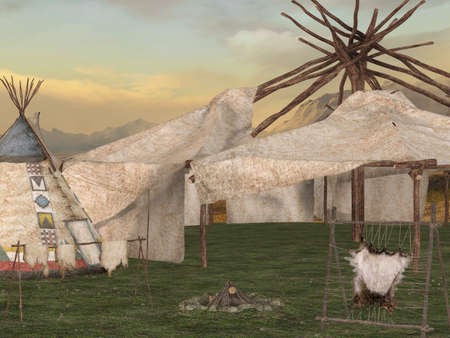 teepee: Traditional teepee village