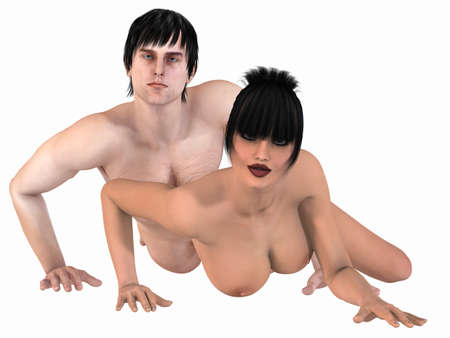 3d nude: Portrait of a sexy couple