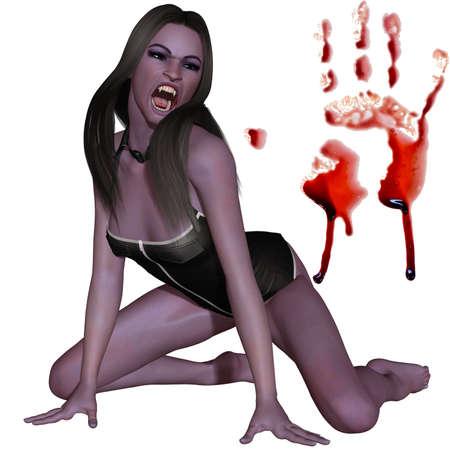 dientes sucios: Mujer vampiro - figura 3D