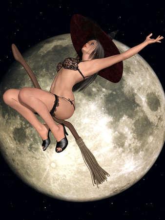 sexy halloween: Sexy Witch Stock Photo
