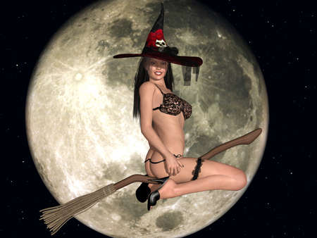 sexy woman lingerie: Sexy Witch Stock Photo