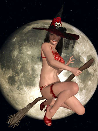 sexy girl posing: Sexy Witch Stock Photo