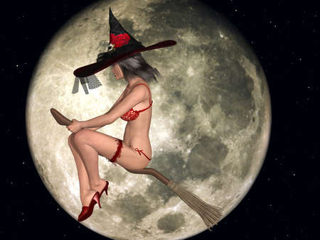 3d witch: Sexy Witch Stock Photo