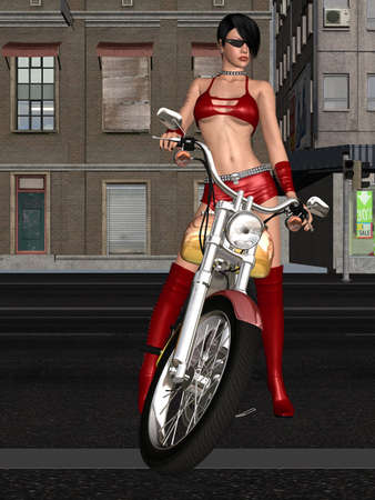 Sexy biker girl photo