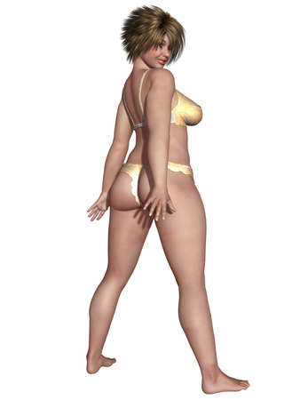 Overweight woman body in sexy underwear photo