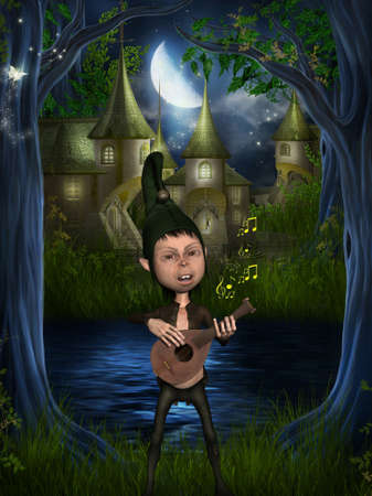 Fantasy figure playing a musical instrument photo