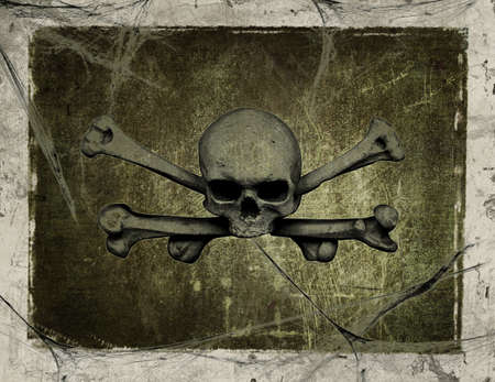 Old vintage paper with drawing skull Stock Photo - 9222346