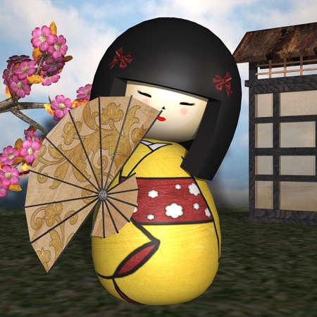 manga style: Japanese traditional doll Stock Photo