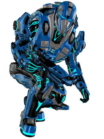 robot with shield: Futuristic soldier