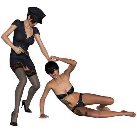 Bad police girl with prisoner Stock Photo - 9631277