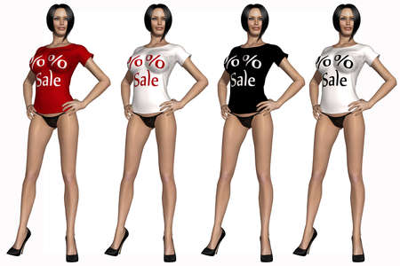 Sexy girl with t-shirt with sale sign photo