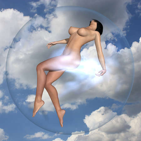 3d nude: Sexy naked girl in the bubble