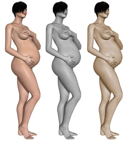Nude pregnant woman Stock Photo - 10011392