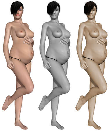Nude pregnant woman Stock Photo - 10011390