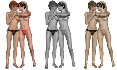 women breast: Sexy lesbian couple