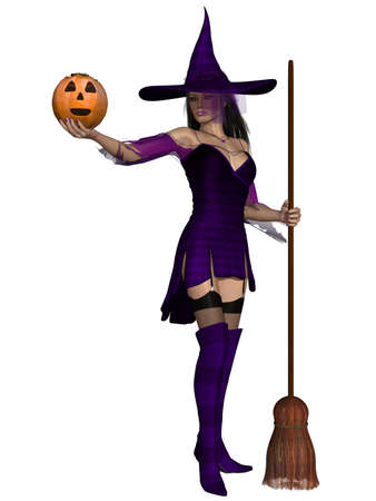 3d witch: Halloween Witch Stock Photo
