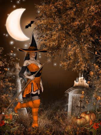sexy halloween: Halloween Witch Stock Photo