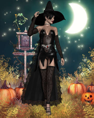 sexy belly: Halloween Witch Stock Photo