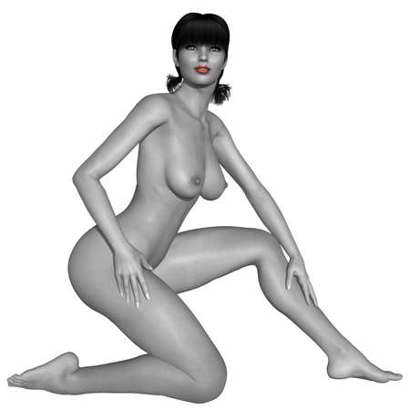 naked girl: Naked female body with sexy pose - black and white picture with some color part