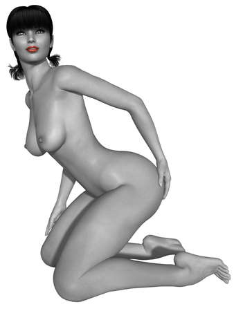 naked female body: Naked female body with sexy pose - black and white picture with some color part