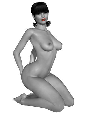nudity: Naked female body with sexy pose - black and white picture with some color part