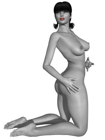 nude female: Naked female body with sexy pose - black and white picture with some color part
