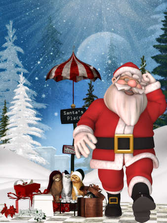 Toon Santa with christmas background Imagens