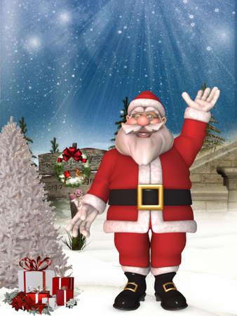 Toon Santa with christmas background photo