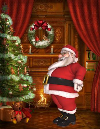 Toon Santa with christmas background photo