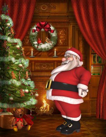 cartoon santa clause: Toon Santa with christmas background Stock Photo