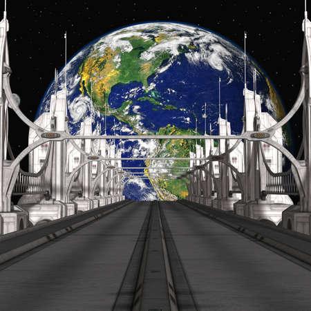 scifi: Sci-Fi Background with a bridge