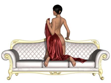 girl sexy nude: Sexy chica desnuda posando en un sof�