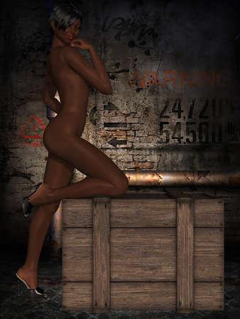 naked female body: Naked female body with sexy pose  Stock Photo