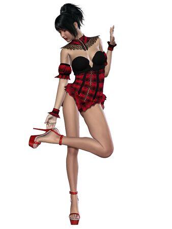 Beautiful sexy pin-up girl in sexy corset