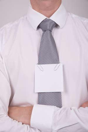 Office worker note on tie