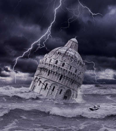 on boat: Surrealist apocalyptic - Tower sinking in flood and thunderstorm Stock Photo