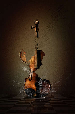 Shattered Violin with Water